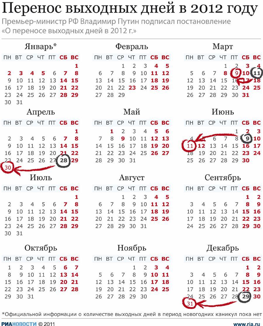Календарь праздничных дней и список