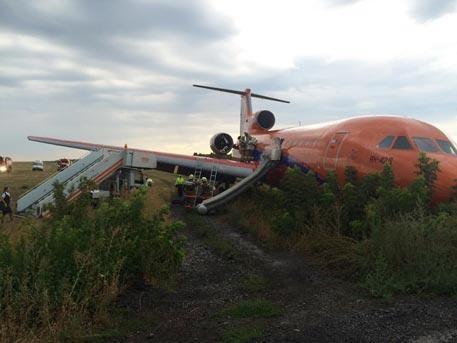 Ваэропорту Уфы самолет выехал запределы взлетно-посадочной полосы