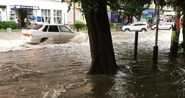 Из-за мощного ливня Владикавказ ушел под воду