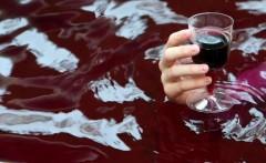 Улицы Франции затопило вином