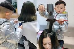 В Китае шестилетний мальчик стал известным парикмахером