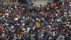 В Барселоне проходит сидячая демонстрация