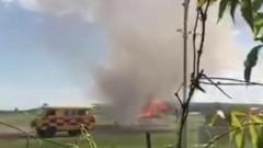 В Казахстане загорелся самолет после посадки