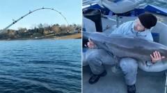 Американец поймал рыбину около 60 кг