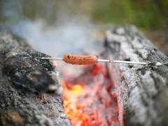 Туристы жарят еду на лаве вулкана Ключевской на Камчатке