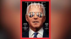 Time поместил на обложку Байдена с отражением Путина в темных очках