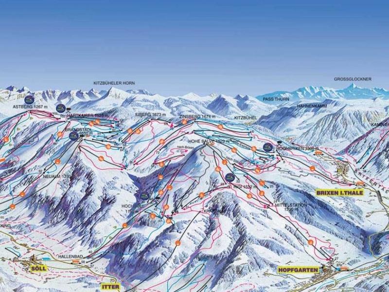 Горнолыжный курорт Эльмау.  Южный Тироль - Австрия.  Это самый большой и длинный горнолыжный регион /из лежащих друг...