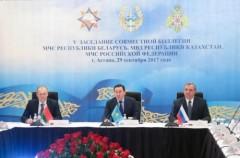 Главы чрезвычайных служб России, Белоруссии и Казахстана провели в Астане заседание совместной коллегии