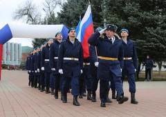 В Тимашевске новороссийские десантники сделали первую остановку в ходе комбинированного марш-броска
